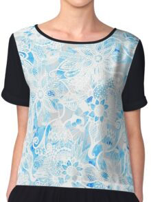 Floral Drawing in Cool Blue Watercolor and White Chiffon Top