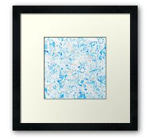 Floral Drawing in Cool Blue Watercolor and White Framed Print