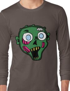Green Zombie Head  Long Sleeve T-Shirt