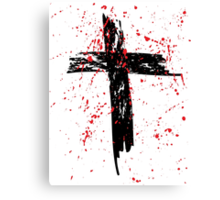 Grunge Cross with Red Splats Canvas Print
