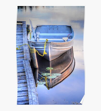 Row Boat Moored at Lonely Lake Poster