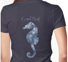 Sponge painted Seahorse Coral Reef silhouette, delft blue nautical art Womens Fitted T-Shirt
