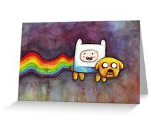 Nyan Time   Adventure Time Jake and Finn   Nyan Cat Greeting Card