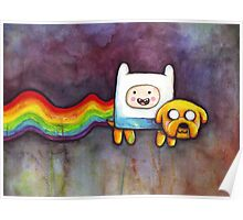 Nyan Time | Adventure Time Jake and Finn | Nyan Cat Poster