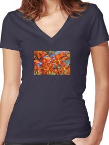 Orange Yellow Flowers Women's Fitted V-Neck T-Shirt