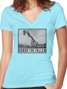 Honor the Fallen - Sloth Iwo Jima Women's Fitted V-Neck T-Shirt