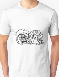 paar pärchen liebe frau girl mädchen sexy verliebt anzug fliege grinsen spange nerd geek schlau intelligent freak lustig teenager hornbrille igel  Unisex T-Shirt