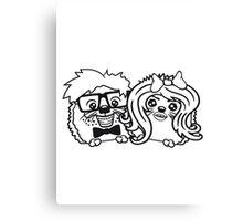 paar pärchen liebe frau girl mädchen sexy verliebt anzug fliege grinsen spange nerd geek schlau intelligent freak lustig teenager hornbrille igel  Canvas Print