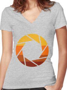 70s Modern Portal Aperture Logo (Hot) Women's Fitted V-Neck T-Shirt