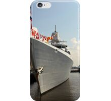 warship with flags at the pier iPhone Case/Skin