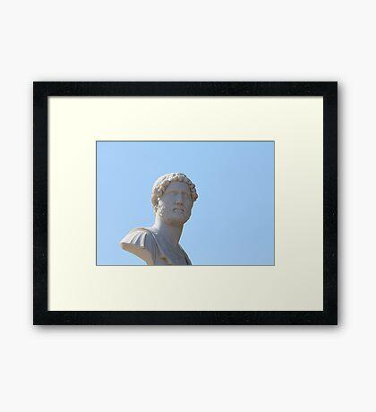 marble bust on blue Framed Print