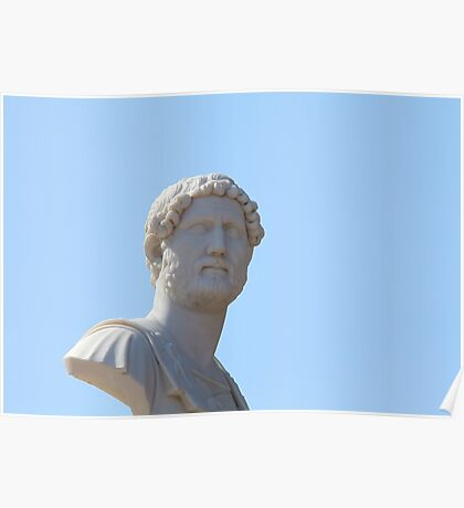 marble bust on blue Poster