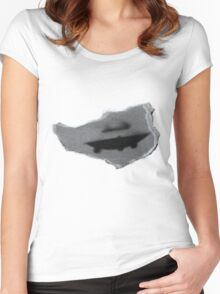 UFO cutout Women's Fitted Scoop T-Shirt