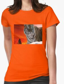 Siberian Sunset Tiger Animal-Lover Wildlife Womens Fitted T-Shirt