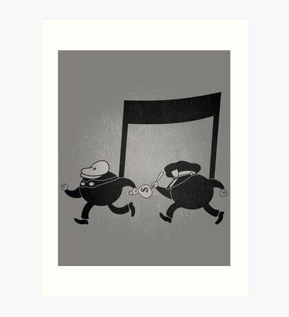 Chase scene music. Art Print