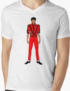 Thriller Red Jackson Mens V-Neck T-Shirt