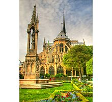 Notre Dame ..Garden Fountain view .. HDR Photographic Print