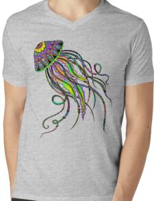 Electric Jellyfish Mens V-Neck T-Shirt