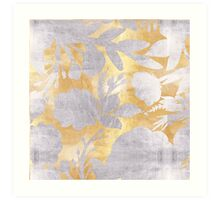 Abstract gold silver pattern,floral,shadow design Art Print