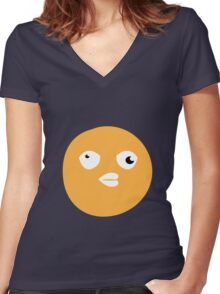 Crazy yellow funny bitch babble head duck Women's Fitted V-Neck T-Shirt