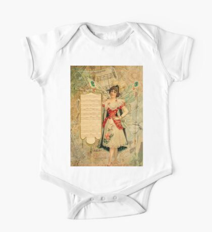 Vintage collage,rustic,grunge,beautiful girl,parchment, One Piece - Short Sleeve