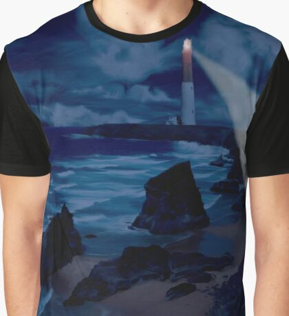 Lighthouse at Night Graphic T-Shirt