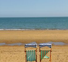 Deck Chairs on Sandown Beach by Jonathan Cox