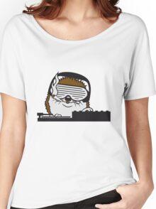 nerd geek hornbrille pickel freak spange schlau intelligent grinsen lustig comic cartoon süßer kleiner niedlicher igel  Women's Relaxed Fit T-Shirt