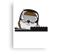 nerd geek hornbrille pickel freak spange schlau intelligent grinsen lustig comic cartoon süßer kleiner niedlicher igel  Canvas Print