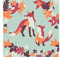 Autumn foxes Photographic Print