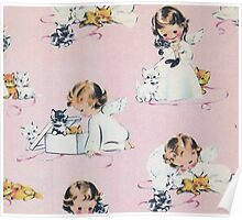 vintage,kittens,baby angels,girl,pink,cute,lovely,shabby chic Poster