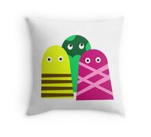 Three monstrers Throw Pillow