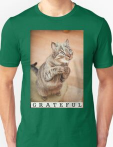 Cute cat with bow,grateful,typography,funny,happy, Unisex T-Shirt