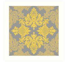 Golden Folk - doodle pattern in yellow & grey Art Print