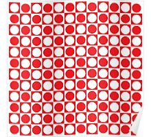 Red and White Squares and Polka Dots  Poster