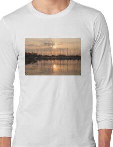 Of Yachts and Cormorants - A Golden Marina Morning Long Sleeve T-Shirt