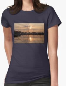 Of Yachts and Cormorants - A Golden Marina Morning Womens Fitted T-Shirt