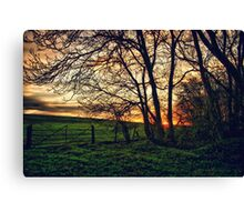 English Countryside Sunset HDR  Canvas Print