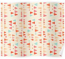 Back & Forth - triangle abstract pattern in peach, aqua & cream Poster