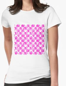 Pink and White Checkerboard Retro 80s Disco Dancers Womens Fitted T-Shirt
