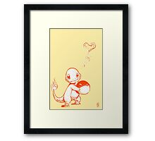 Charmander Pokemon with Pokeball Framed Print