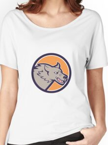 Grey Wolf Head Angry Circle Cartoon Women's Relaxed Fit T-Shirt