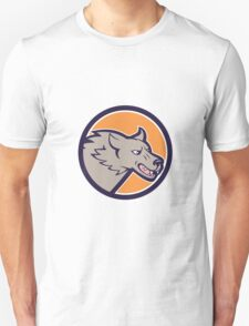Grey Wolf Head Angry Circle Cartoon Unisex T-Shirt