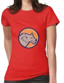 Grey Wolf Head Angry Circle Cartoon Womens Fitted T-Shirt