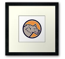 Grey Wolf Head Angry Circle Cartoon Framed Print