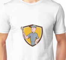 Handyman Holding Spanner Crest Cartoon Unisex T-Shirt