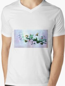 BEES AND BLOSSOMS Mens V-Neck T-Shirt