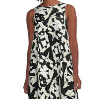 Black and White Abstract Ornament Pattern A-Line Dress