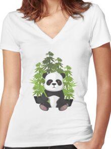 High panda Women's Fitted V-Neck T-Shirt