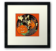 Halloween Witch Skeleton Pumpkin and Ghost Framed Print